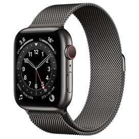 Apple Watch Series 6, 44mm Stainless Steel, Graphite, Milanese Strap