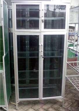 Lemari Serbaguna Aluminium 2 Pintu Putih Kaca Riben (Harga Promosi)