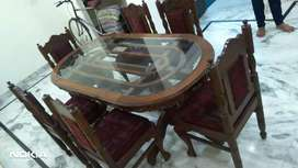 Dining Table with 6 chair, made in Bareilly