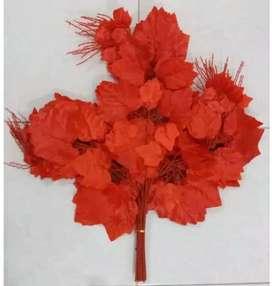 Daun Autumn Merah Artificial Import / Daun Plastik/ Bunga Plastik