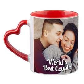 Heart shaped personalised mugs