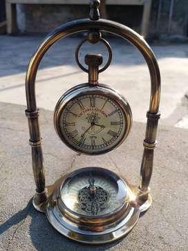 Antique Brass Stand Compass Clock 1876 Victoria