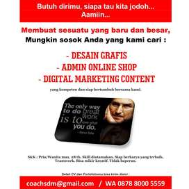 Lowongan Admin Online Shop - Desain Grafis - Digital Marketing Content