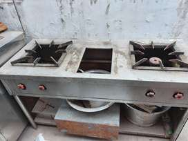 Commercial 2 burner steel choolha, gas stove