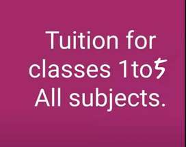 HOME TUTIONS FOR  PRIMARY TO 5 CLASS ALL SUBJECTS AVAILABLE HERE