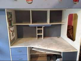 Bunk Bed For Single Kid With Study Table, Wardrobe and A Chair
