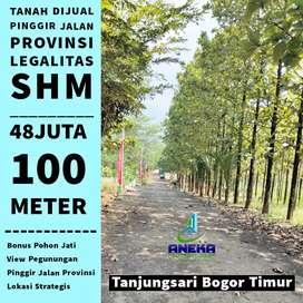 Dijual tanah kavling pinggir jl.prov di Bogor 300m² 144jt