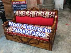 Red floral cusion wooden sofa cumbed Segun