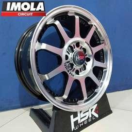 Pelg mobil racing murah ring 15 HSR wheel pcd 4x100 dan 4x114,3 Black