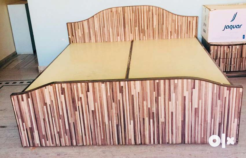 Teak + Plywood Double Bed+Double bed Cot Mattress 0
