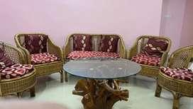 Cane sofa chair set