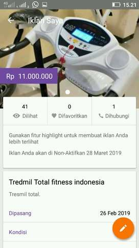 Tredmil Total fitness indonesia