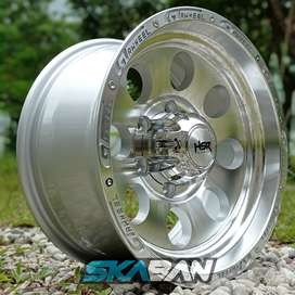 jual velg hsr wheel duffy ring 16x8 h6(139,7) silver polish