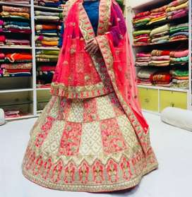 Giveaway Price: Bridal Lehenga Choli Pink Golden with 2 Dupattas
