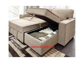 Caspian Furniture:- New L shape sofa cum bed with storage