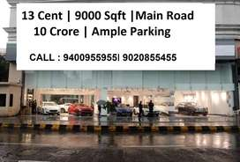 13 cent | 9000 Sqft | Pattom | Main Road  | 10 crore ( nego )