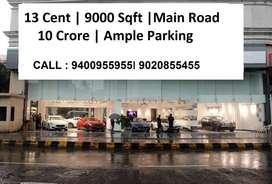 13 cent | 9000 Sqft | Pattom | Main Road  | 10 crore ( nego )