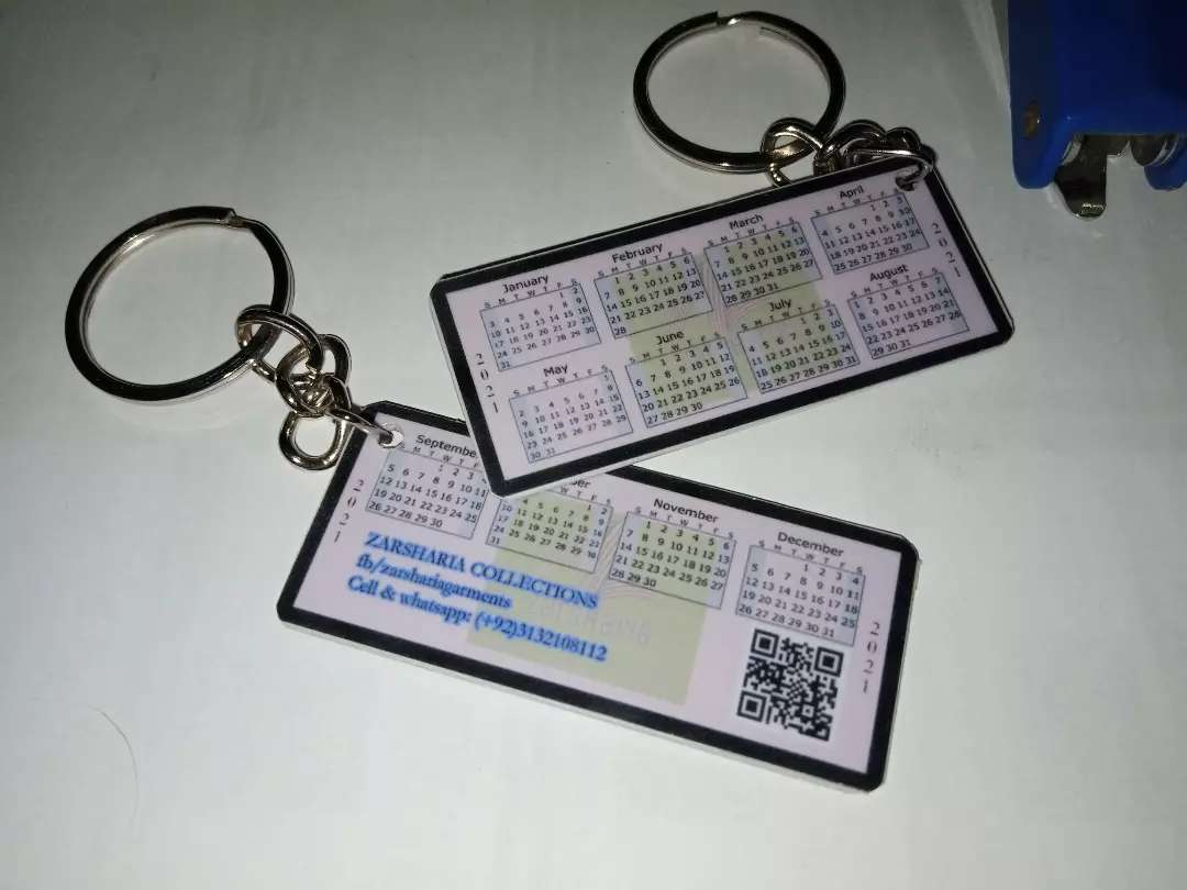 Calendar 2021 keychain with company name, website QR Code & number etc