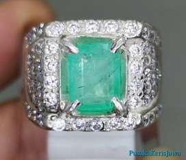 Cincin Zamrud Kolombia Emerald Beryl bersertifikat asli
