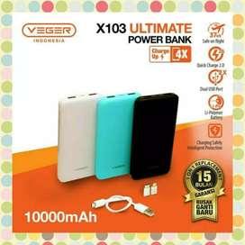 Powerbank Veger 10000 Mah Seri X103 Dual Output Fast Charging 2A