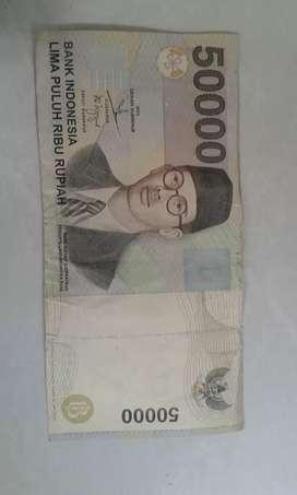 Uang lama kertas pecahan 50 ribu thn1999