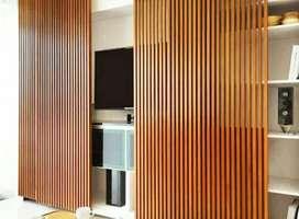 Kisi-kisi/partisi kayu/sekat ruang/pagar kayu/tangga kayu/decking kayu