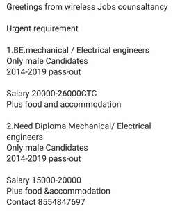 Urgent requirement for electrical mechanical engineers