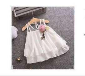 Dress Gaun Tanpa Lengan Baju Bayi Baby Putih White Ukuran S