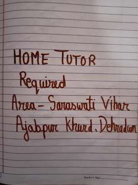 Home tutor required female.