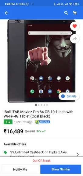 iBall iTAB Moviez Pro 64 GB 10.1 inch with Wi-Fi+4G Tablet-Coal Black