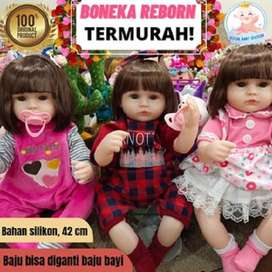 TERMURAH! Boneka Reborn Bayi Silikon mirip Asli Cantik Mewah 42 Origin