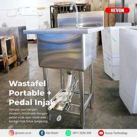 wastafel stainless steel portable kran injak bisa custom tasikmalaya