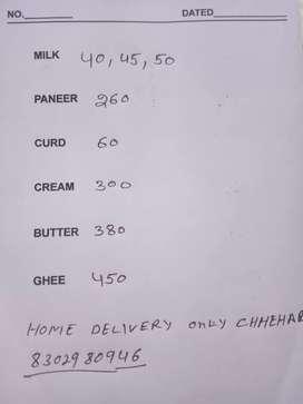 Milk paneer curd cream butter