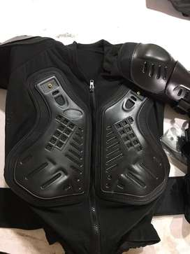 Jacket, back protector, elbow knee protectors