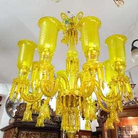 Lampu Gantung full kristal cabang 8 kuning