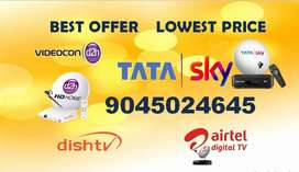 LOWEST PRICE ON ALL DTH TATASKY,AIRTEL DIGITAL,VIDEOCON D2H,DISHTV
