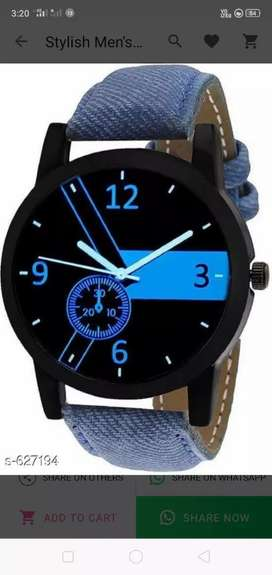 Stylish Men's Watch Material: Leather Size: Free Size