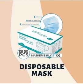 Masker earloop biru/ hijau 3 play isi 50 pcs