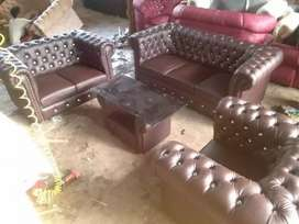 ANUGRAH-FURNITURE,Sofa 321 ORLANDO maron motif kancing.