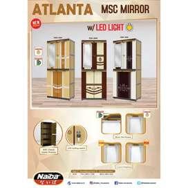 Lemari Pakaian Plastik Naiba MSC 9234 MIRROR LED ATLANTA