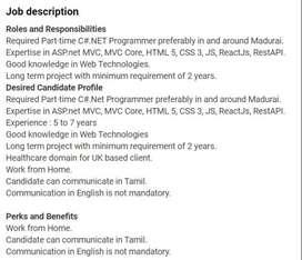 Senior C# ASP dotNet Developer - Part Time