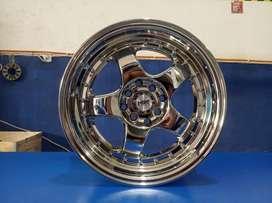 Velg racing berkualitas HSR BRISKET RING16X7, 5 pcd8x100/114,3 chrome