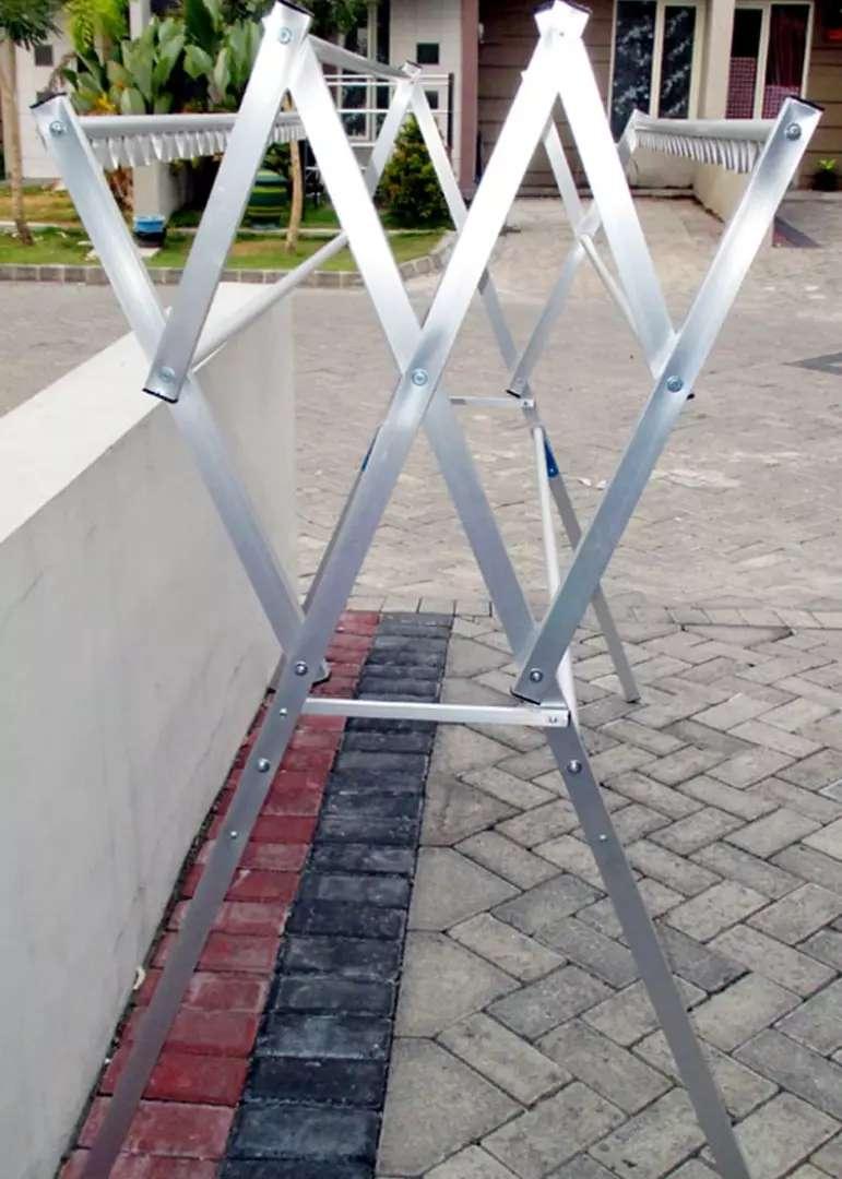 Jemuran Aluminium Harmonika Lipat + Hanger 150 Anti Karat 0