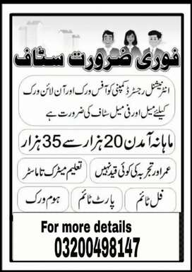 Lahore candidates required for online working in office based