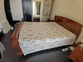 Solid wood double bed with storage, 2 side tables, 6 inch mattress