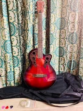 Cherry Red Burst Acoustic Walker Guitar - Selling price Rs - 5,500/-