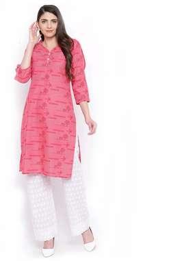 Designer Printed Cotton Kurtis | Pink