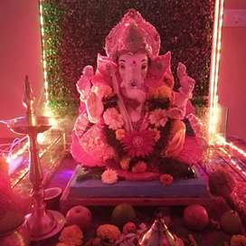 Ganpati or navratri decoration waterfall fish tank