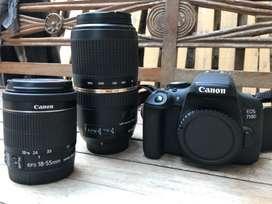 Canon EOS 750d + 18-55 lens (better than Kit Lens) + 70-300 Lens