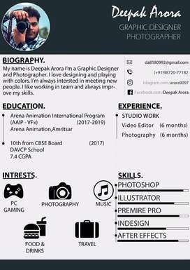 Graphic designer, video editor, photoshop artist